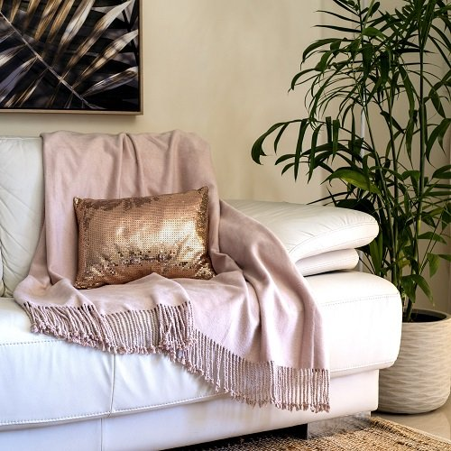 Dusty Rose Bamboo Throw