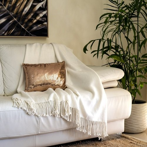 Ivory Bamboo Throw