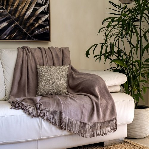 Taupe Bamboo Throw
